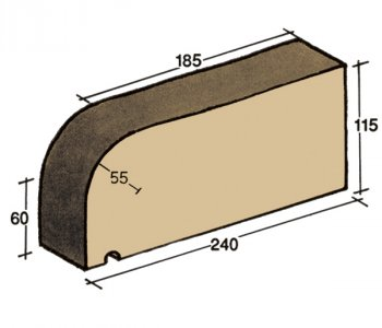 F-01, window sill capping tile, rounded on one side