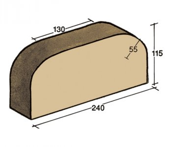 F-02, wall capping brick, single rounded edge at both ends